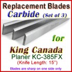 Set of 3 Carbide Blades for King Canada 15'' Planer, KC-385FX