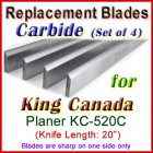 Set of 4 Carbide Blades for King Canada 20'' Planer, KC-520C