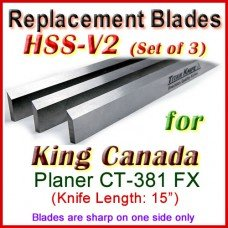 Set of 3 HSS Blades for King Canada 15'' Planer, CT-381 FX