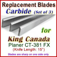 Set of 3 Carbide Blades for King Canada 15'' Planer, CT-381 FX