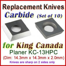 Box of 10 Carbide Insert knives for King Canada Planer, KC-13HPC