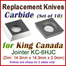 Set of 10 Carbide Blades for King Canada 0'' Jointer, KC-6HJC