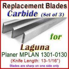 Set of 3 Carbide Blades for Laguna 13'' Planer, MPLAN 1301-0130