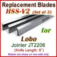 Set of 3 HSS Blades for Lobo 6'' Jointer, JT2206