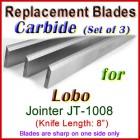 Set of 3 Carbide Blades for Lobo 8'' Jointer, JT-1008