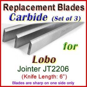 Set of 3 Carbide Blades for Lobo 6'' Jointer, JT2206