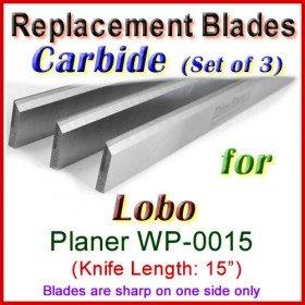 Set of 3 Carbide Blades for Lobo 15'' Planer, WP-0015