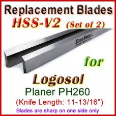 Set of 2 HSS Blades for Logosol 12'' Planer, PH260 (BOTTOM)