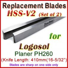 Set of 2 HSS Blades for Logosol 16'' Planer, PH260 (TOP)