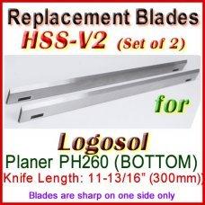 Set of 2 HSS Blades for Logosol 12'' Planer, PH260 (BOTTOM)