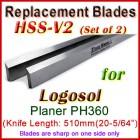 Set of 2 HSS Blades for Logosol 20'' Planer, PH360