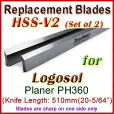 Set of 2 HSS Blades for Logosol 20'' Planer, PH360