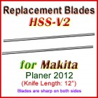 Set of 2 HSS Blades for Makita 12'' Planer, 2012
