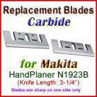 Set of 2 Carbide Blades for Makita 3'' Handheld Planer, N1923B