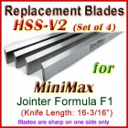Set of 4 HSS Blades for MiniMax 16'' Jointer, Formula F1