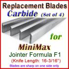 Set of 4 Carbide Blades for MiniMax 16'' Jointer, Formula F1