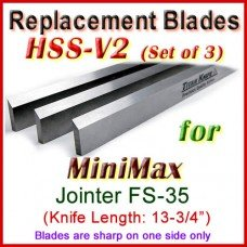 Set of 3 HSS Blades for MiniMax 14'' Jointer, FS-35