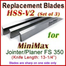 Set of 3 HSS Blades for MiniMax 14'' Jointer, FS 350