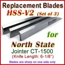 Set of 3 HSS Blades for North State 6'' Jointer, CT -1500