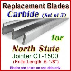 Set of 3 Carbide Blades for North State 6'' Jointer, CT -1500
