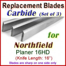 Set of 3 Carbide Blades for Northfield 16'' Jointer, 16HD