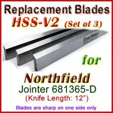 Set of 3 HSS Blades for Northfield 12'' Jointer, 681365-D