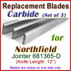 Set of 3 Carbide Blades for Northfield 12'' Jointer, 681365-D