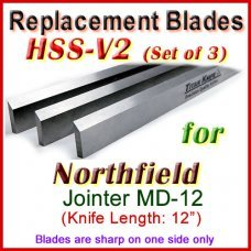 Set of 3 HSS Blades for Northfield 12'' Jointer, MD-12