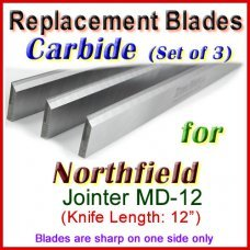 Set of 3 Carbide Blades for Northfield 12'' Jointer, MD-12