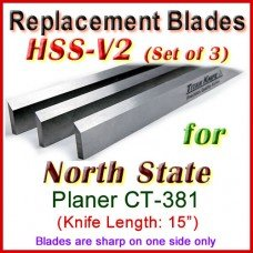 Set of 3 HSS Blades for North State 15'' Planer, CT-381