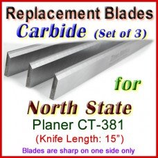 Set of 3 Carbide Blades for North State 15'' Planer, CT-381