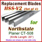 Set of 4 HSS Blades for North State 20'' Planer, CT-508