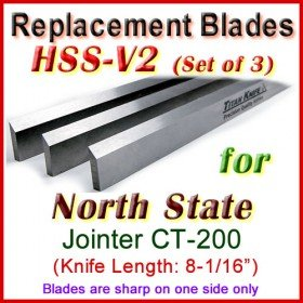 Set of 3 HSS Blades for North State 8'' Jointer, CT-200