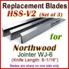 Set of 3 HSS Blades for Northwood 6'' Jointer, WJ-6