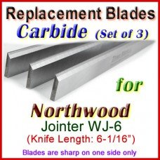 Set of 3 Carbide Blades for Northwood 6'' Jointer, WJ-6