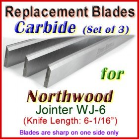 Set of 3 Carbide Blades for Northwood 6'' Jointer, WJ-6