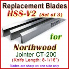 Set of 3 HSS Blades for Northwood 8'' Jointer, CT-200