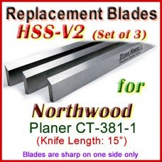 Set of 3 HSS Blades for Northwood 15'' Planer, CT-381-1