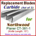 Set of 3 Carbide Blades for Northwood 15'' Planer, CT-381-1