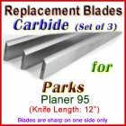 Set of 3 Carbide Blades for Parks 12'' Planer, 95