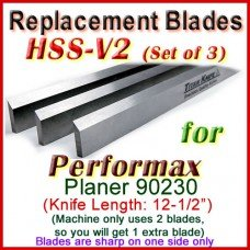 Set of 3 HSS Blades for Performax 12-1/2'' Planer, 90230