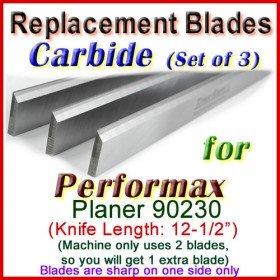 Set of 3 Carbide Blades for Performax 12-1/2'' Planer, 90230