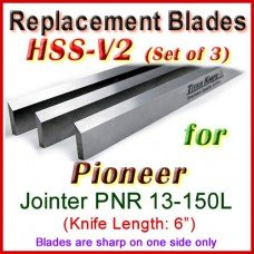 Set of 3 HSS Blades for Pioneer 6'' Jointer, PNR 13-150L