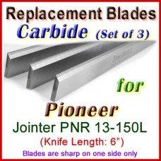 Set of 3 Carbide Blades for Pioneer 6'' Jointer, PNR 13-150L