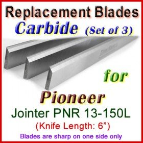 Set of 3 Carbide Blades for Pioneer 6'' Jointer, PNR 13-150L