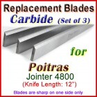 Set of 3 Carbide Blades for Poitras 12'' Jointer, 4800