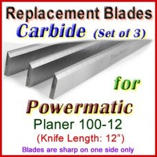 Set of 3 Carbide Blades for Powermatic 12'' Planer, 100-12