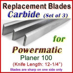 Set of 3 Carbide Blades for Powermatic 12'' Planer, 100