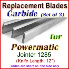 Set of 3 Carbide Blades for Powermatic 12'' Jointer, 1285