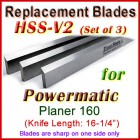 Set of 3 HSS Blades for Powermatic 16'' Planer, 160